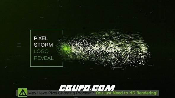 8235像素粒子汇聚Logo文字动画AE模版,Pixel Storm Logo Reveal
