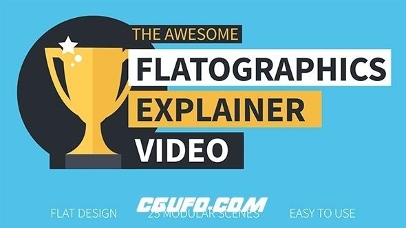 8246扁平化商务公司企业宣传MG动画片头AE模版,Flatographics Explainer Video