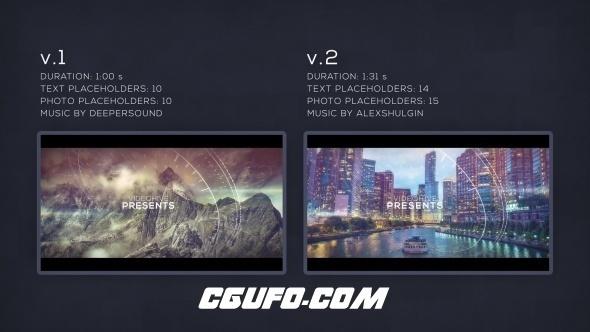 8248科技感元素视差图片开场AE模版,Parallax Glitch Slideshow