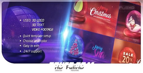 8251圣诞节水晶球动画AE模版,Christmas Opener