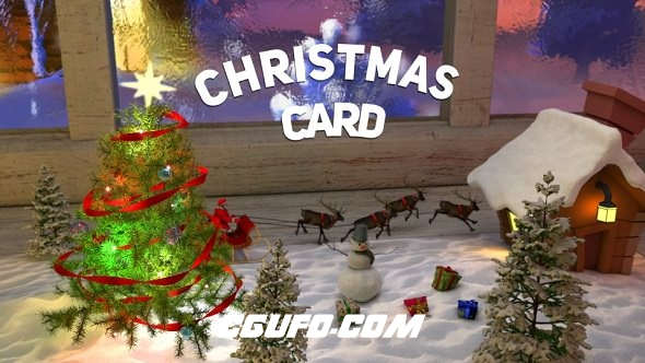 8252圣诞节贺卡三维翻开动画片头AE模版,Christmas Card