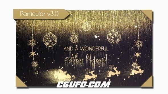 8254金色圣诞节祝福片头动画AE模版,Golden Christmas Wishes
