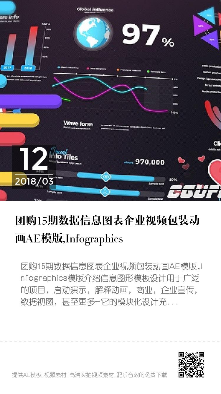 团购15期数据信息图表企业视频包装动画AE模版,Infographics bigger封面