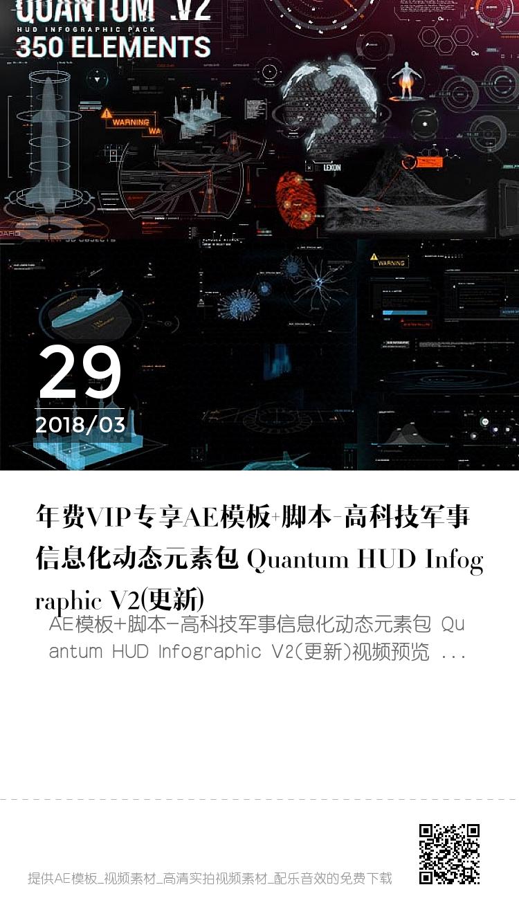 年费VIP专享AE模板+脚本-高科技军事信息化动态元素包 Quantum HUD Infographic V2(更新) bigger封面